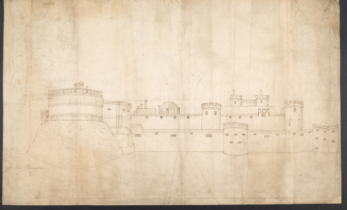 A pen-and-ink drawing of the fortification at Guînes
