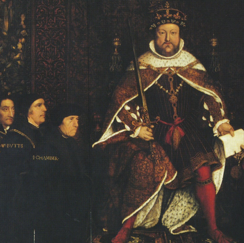 King Henry seated on a throne with, to his left, his physicians John Chambre and William Butts