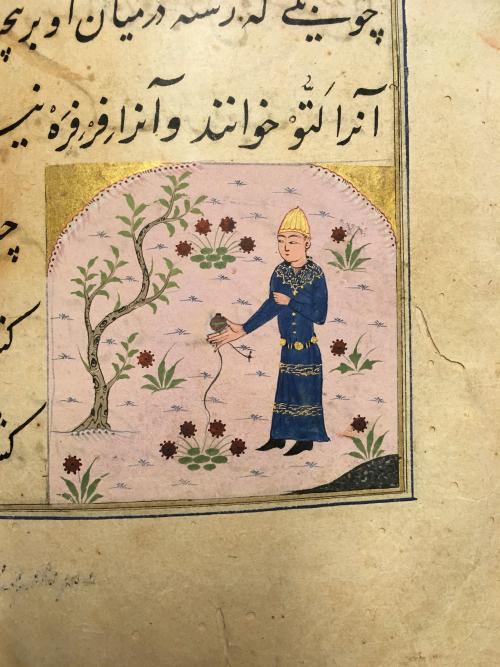 Yo-yo (bādfarah, laṭṭū) Miftāḥ al-Fużalā of Shadiyabadi, Mandu, ca. 1490, 6.2 x 6.5 cm (British Library Or 3299, f. 55v)