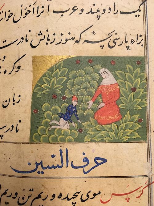 Kazhmazh, Miftāḥ al-Fużalā of Shadiyabadi, Mandu, ca. 1490, 5.9 x 7.9 cm (British Library Or 3299, f. 228v)