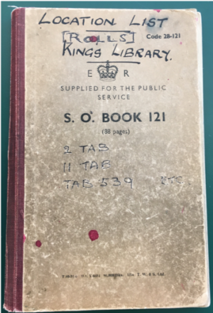 Location list for Kings Library rolls binding