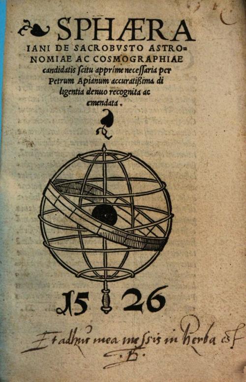 Printed title page of Sphaera