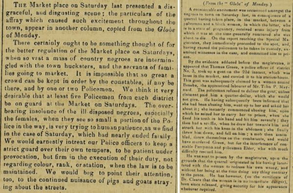 Newspaper accounts of an incident between a Barbados police officer and a former slave