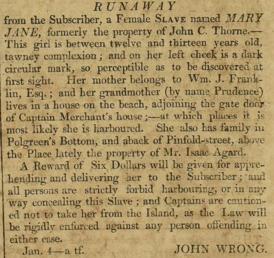 Runaway slave advert