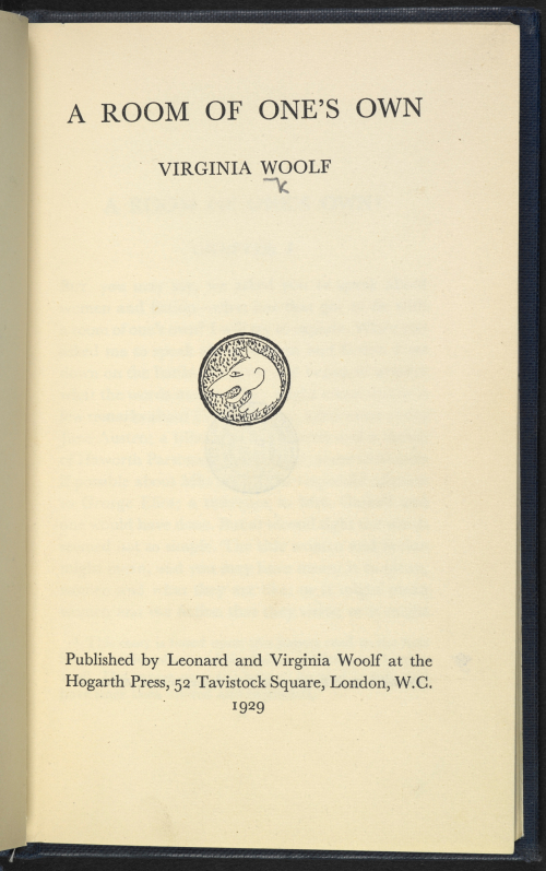 Photograph showing title page for first edition of A Room of One's Own by Virginia Woolf