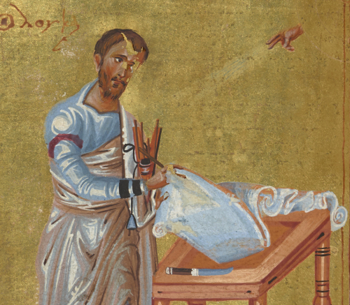 Evangelist portrait of St Luke writing on an exquisite papyrus roll