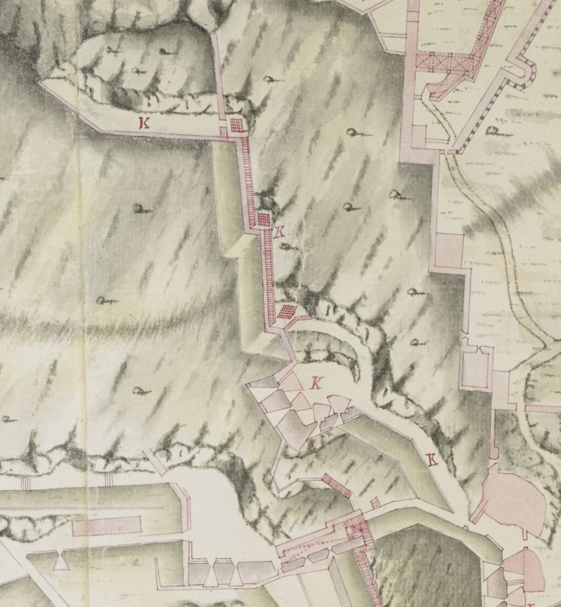Detail of Maps KTop 72.49.2.b.tab showing the Hanover Wall