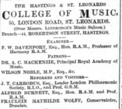 Advertisement for the Hastings and St Leonards College of Music in The Hastings and St Leonards Observer 22 September 1888