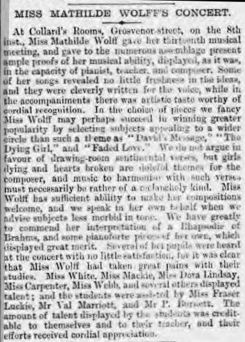 Report of concert in 'The Era' 16 June 1888