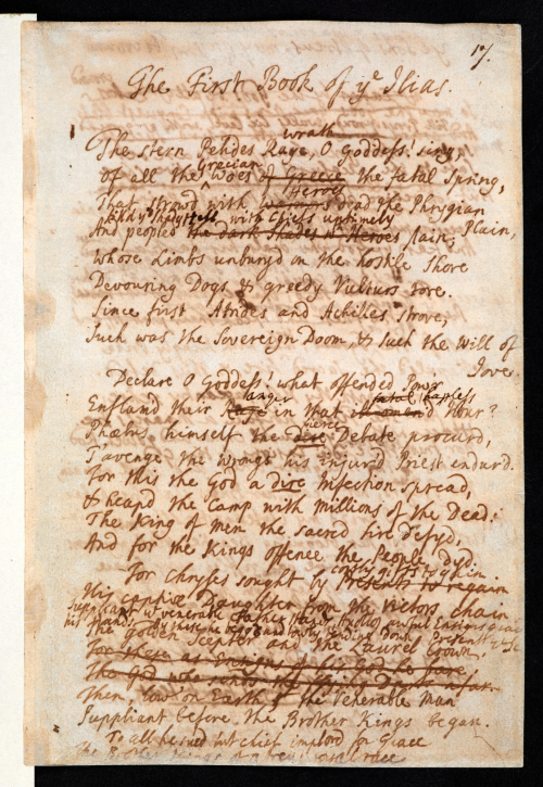 Photograph of manuscript by Alexander Pope (Add MS 4807) containing the opening verses of his translation of Homer's Iliad
