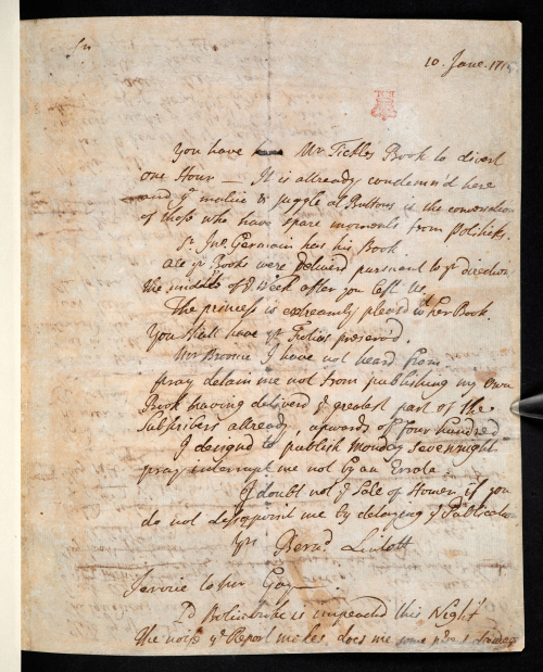 Photograph of manuscript letter from Bernard Lintot to Alexander Pope