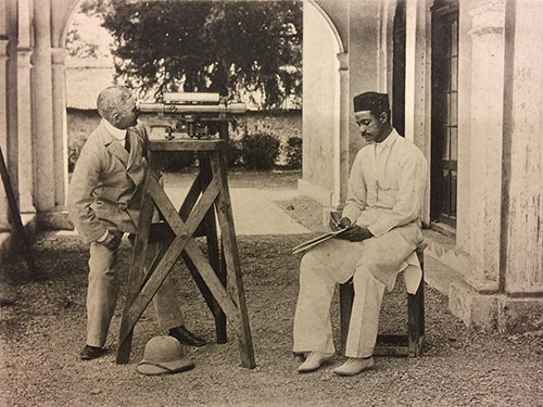 Photograph of Survey of India staff with levelling instrument 1909
