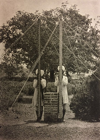 Photograph of Survey of India staff with levelling staves 1909