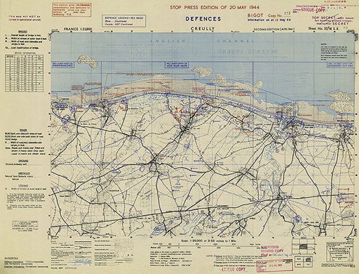 Benson Series map of Creully in Normandy 1944