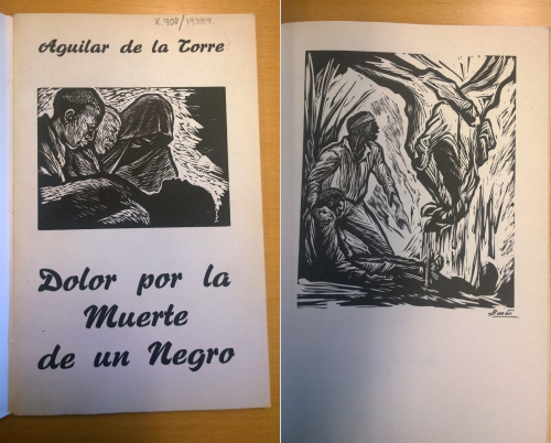 Image of front cover and illustration. Dolor por la Muerte de un Negro (Mexico, 1968), a poem by Manuel Aguilar de la Torre. Woodcut illustration by Arturo Garcia Bustos