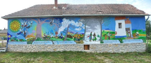Mural on the side of a building by József Ferkovics