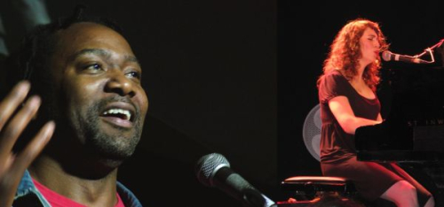 Two pictures of musicians, Reginald Hunter and Regina Spektor
