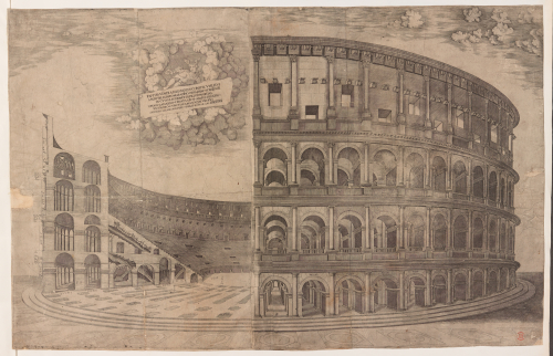 A 16th-century print of the Colosseum in Rome, featuring a cross-section of the oval amphitheatre, with a winged figure in the clouds holding a banner with a Latin inscription.