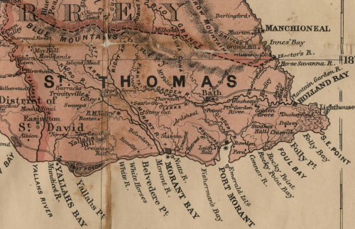 Section of a map of St Thomas, Jamaica, with many places and towns marked, both on the coast and inland.