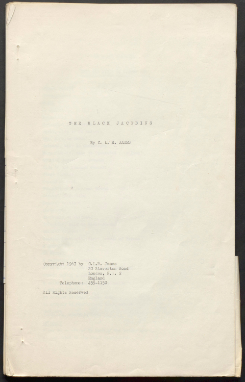 Photograph of typescript draft of The Black Jacobins by CLR James