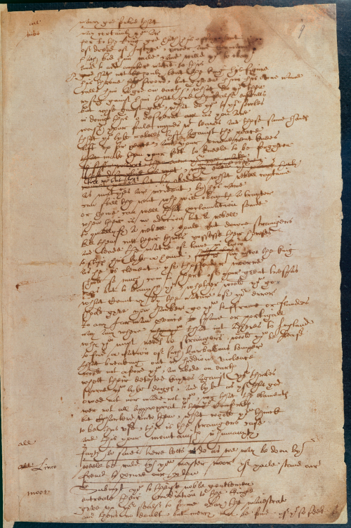 A page of The Booke of Sir Thomas Moore, arguably in Shakespeare's handwriting