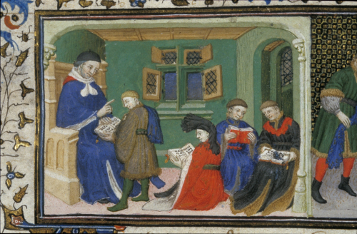 Manuscript illumination of Alexander the Great in school instructed by his teacher Aristotle