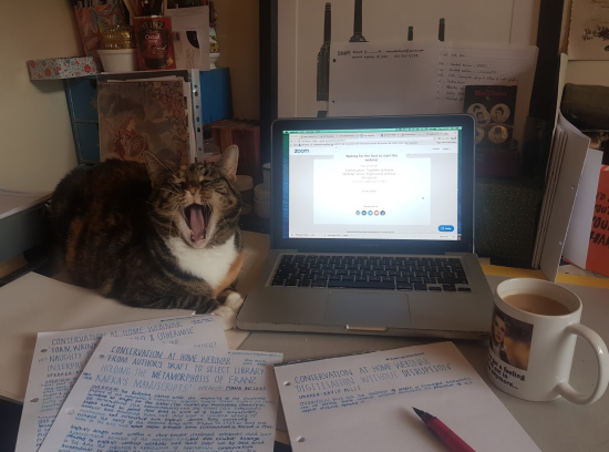 A photograph of Samantha's home desk showing an open laptop, a desk covered in notes, a mug of tea and her cat Reno yawning next to the laptop.