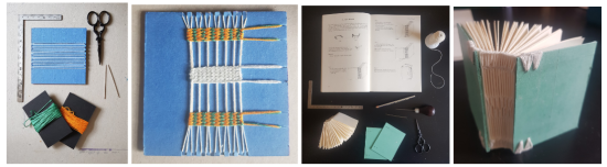 Some endband and binding models Samantha has made at home. The images show tools, scissors, a ruler, some pins and threads with some finished and unfinished endband work.