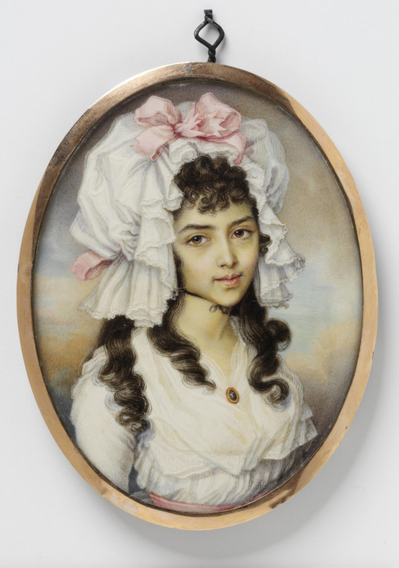 Portrait miniature of an unknown girl, watercolour on ivory. The girl is wearing a very large white bonnet with pink ribbons.
