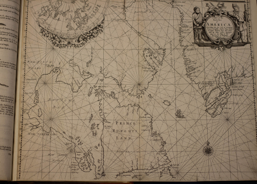 A black and white map from the seventeenth century showing James Bay; it has a decorative description in the top right hand corner under the heading 'A Chart of the North Part of America.'