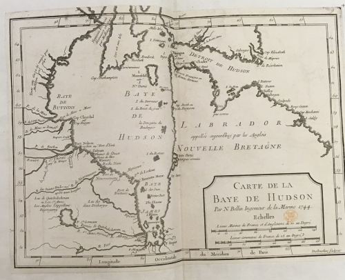 A black and white double-page map of Hudson Bay. In the bottom right hand corner are the publisher's details under the title 'Carte De La Baye De Hudson'; this also includes scales for distance.