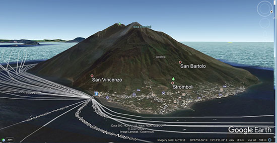 Screenshot showing the Island of Stromboli, Google Earth