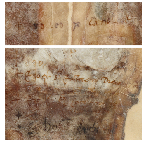 Details from the papal bull of Pope Leo X conferring on King Henry VIII the title Defender of the Faith, damaged by fire in 1731, showing the signatures of the Pope and his cardinals.