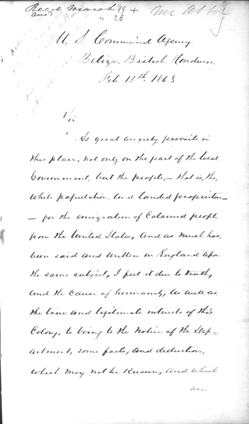 A page of a handwritten letter from the U.S. Consul in British Honduras to the U.S. State Department.