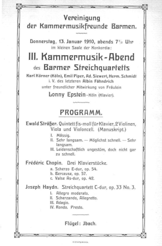 Concert programme title page from a 1910 concert held in Barmen