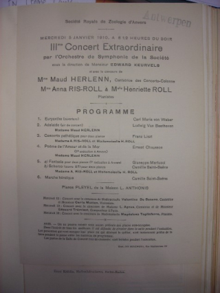 Concert programme title page from a 1910 concert held in Antwerp