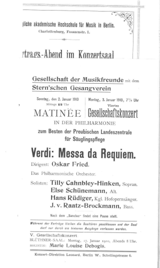 Concert programme title page from a 1910 concert programme held in Berlin