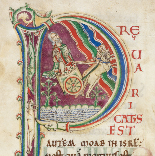 A detail from the Rochester Bible, showing a historiated initial of Elijah's Ascension, with the Old Testament prophet depicted riding a chariot.