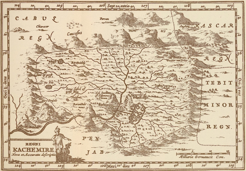 Fig. 6. Engraving of the Kingdom of Kashmir, from Travels in the Mogul Empire, A.D. 1656-1668