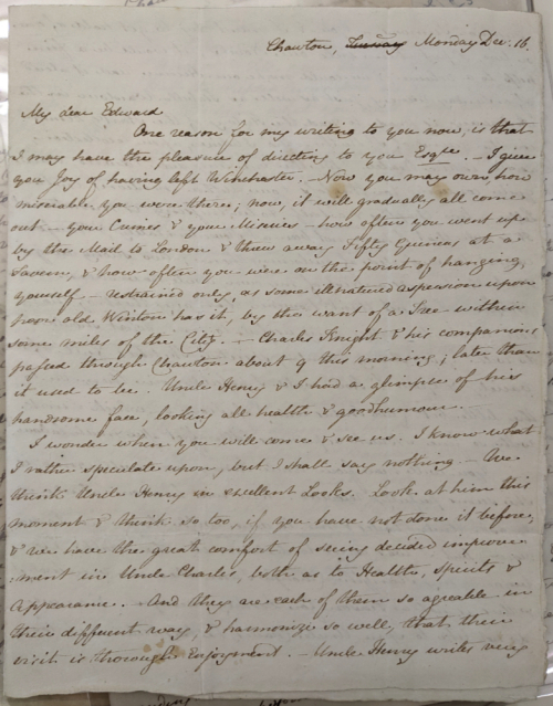 Photograph of Loan MS 19 showing a letter from Jane Austen to her nephew, James Edward Austen