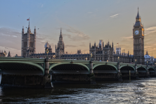 View of Westminster Bridge and the Palace of Westminster from the opposite side if the River Thames