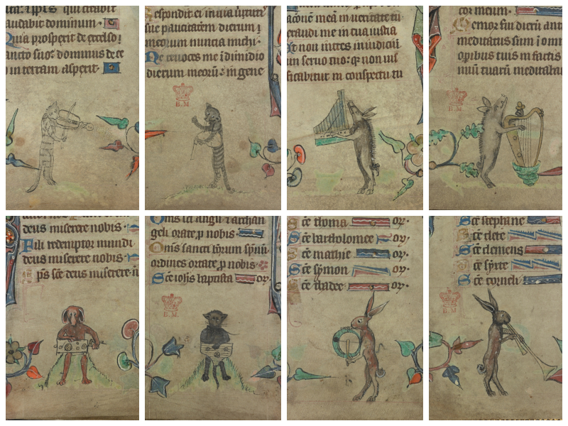 Details of animals playing musical instruments from the marginalia of Harley MS 6563