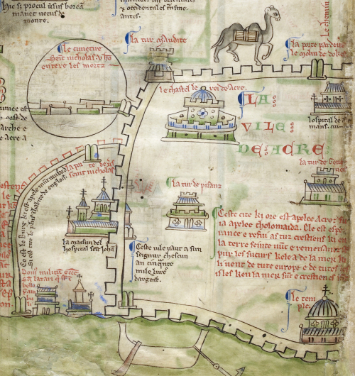 A detail from an itinerary map designed by Matthew Paris, showing an outline of the city of Acre in the Holy Land.