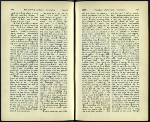 Pages from Heart of Darkness by Joseph Conrad as it first appeared in Blackwoods Magazine 1899 Shelfmark: P.P.6202.