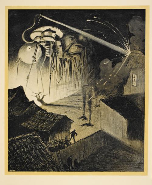 Illustration: La guerre des mondes. Traduit de l'anglais par Henry-D. Davray. édition illustreé par Alvim-Corrêa  Shelfmark: L.45/3317