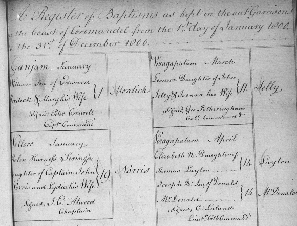 Helen Harness Seringa Norris baptism register entry