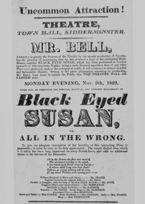 Playbill advertising Black Eyed Susan or All In The Wrong