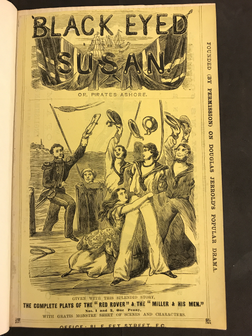 Illustrated cover of a Penny Dreadful edition of Black Eyed Susan, published in 52 parts in 1868 showing celebrating sailors and a woman pleading.