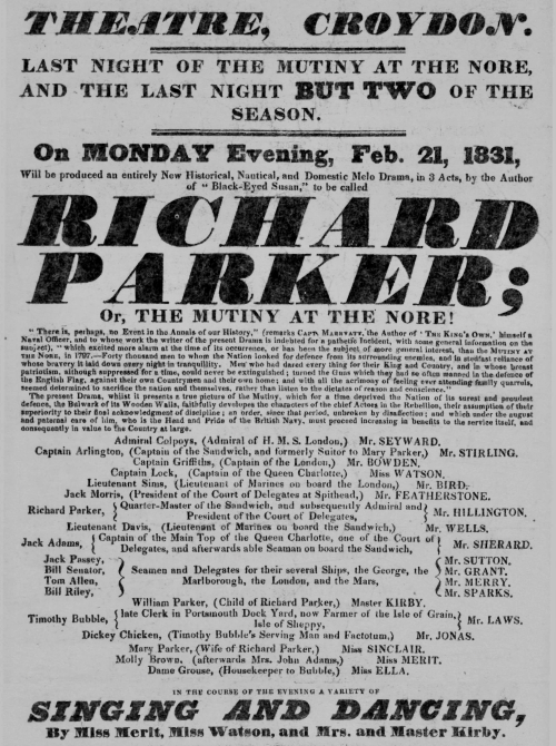 Playbill advertising Richard Parker Or, The Mutiny at the Nore!