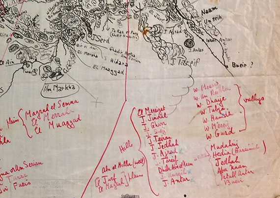 Detail of sketch map of Hejaz made by T.E. Lawrence